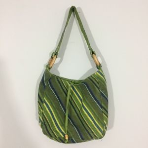Handbags - Canvas Green Striped Shoulder Boho Bag